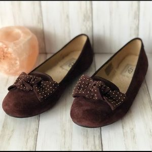UGG Alloway Brown Suede Bow Tie Flats